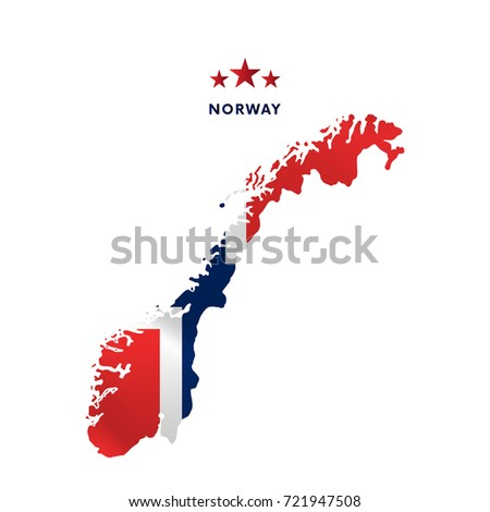 norway map with waving flag