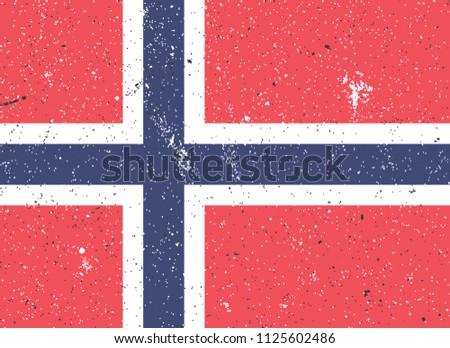 Norway National Flag Grunge. Vector.
