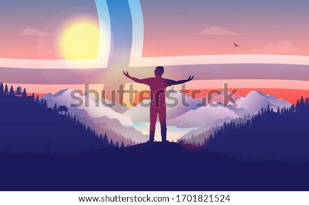 norway patriotic landscape man