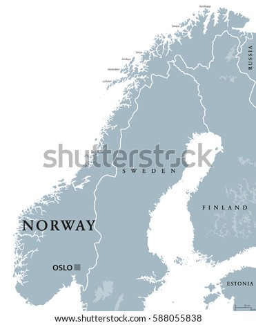 norway political map with
