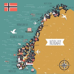 Norway travel cartoon vector map, norwegian landmark Brygge, Lindesnes Lighthouse, Narvik, Stavanger Cathedral, Akershus Fortress, Cathedral of the Northern Lights, Scandinavia, decorative wild animal