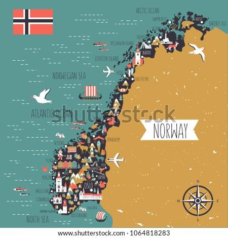 norway travel cartoon vector