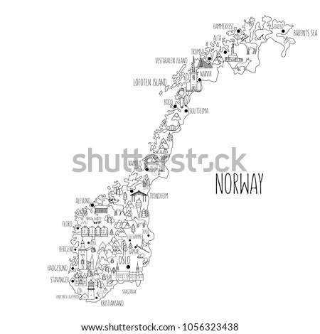 norway travel vector map