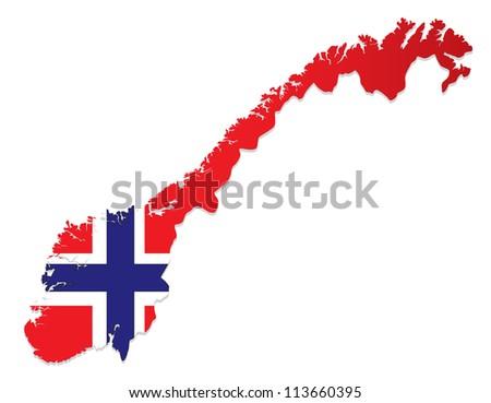 Norway vector map - stock vector