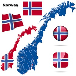 Norway vector set. Detailed country shape with region borders, flags and icons isolated on white background.