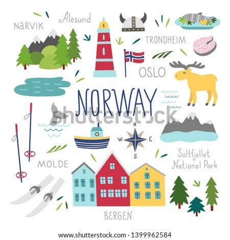 norway vector set travel