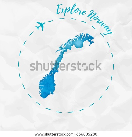 norway watercolor map in