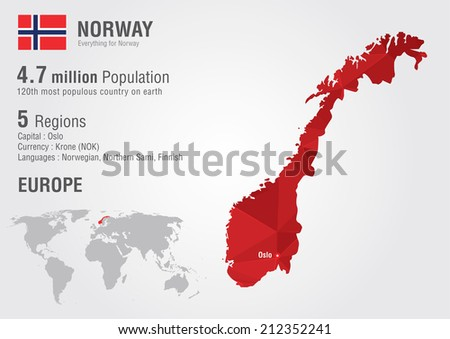 norway world map with a pixel