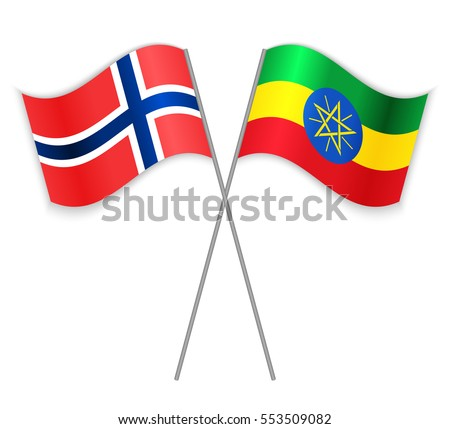 Norwegian and Ethiopian crossed flags. Norway combined with Ethiopia isolated on white. Language learning, international business or travel concept.