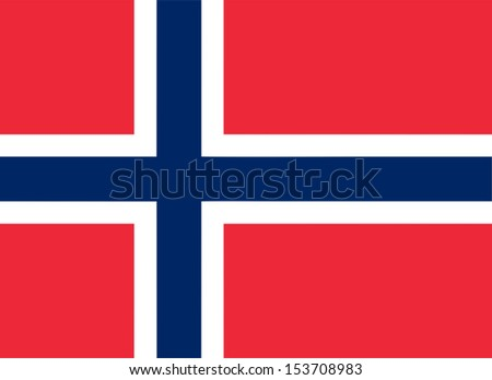 Norwegian flag of Norway - Proportions: 22:16 - Colours: Red 032 U, Blue 281 U, White