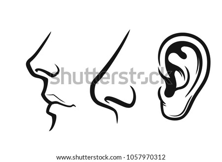 Nose, mouth, ear black on white background Vector