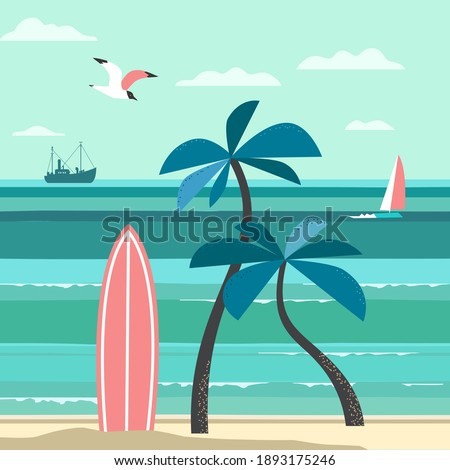 Nostalgic Tropical Nature Vacation vector poster. Vintage holiday print, rest advertisement banner template. Hawaiian surf summer retro style design. Sesaide Tourist fun travel background illustration Stockfoto ©