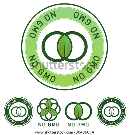 Not genetically modified and no GMO food label stickers for use on product packaging, websites, print materials, and advertising and promotional designs