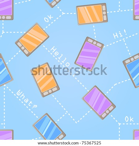 NOT SEAMLESS Pattern With Colorful Cartoon Cell Phones on Light Blue Background.