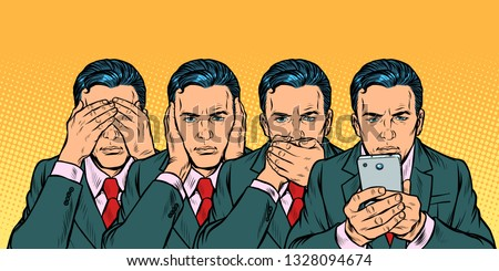Not see say look, smartphone communication concept. Pop art retro vector illustration vintage kitsch 50s 60s