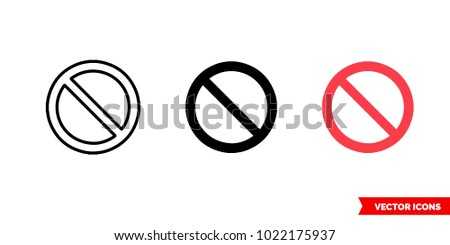 Not symbol icon of 3 types: color, black and white, outline. Isolated vector sign symbol.