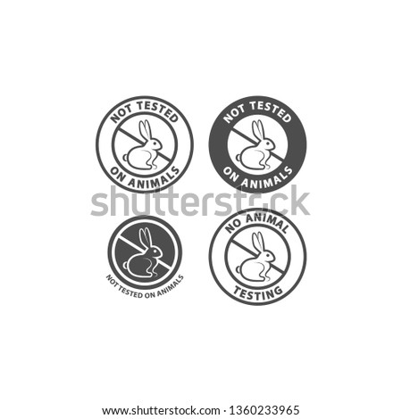 Not tested on animals and no animal testing vector sign. Not tested on animals circle symbol with rabbit. Black isolated no animal testing sign for cosmetics.