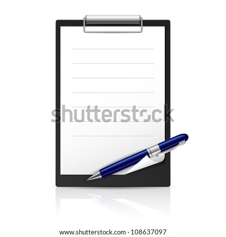 Note and Pen icons for Web Design. Illustration on white
