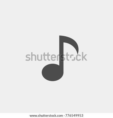 Note flat vector icon. Music flat vector icon