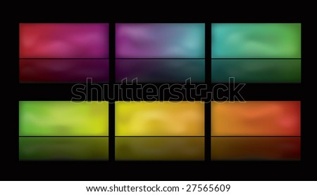 Note: Gradient Meshes are used. This is a set of glowing spectrum buttons on a black background. Spectrum moves horizontally from left to right.