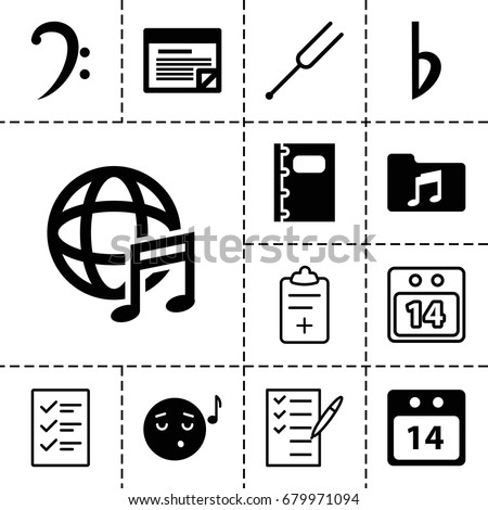 note icon set of 13 filled and