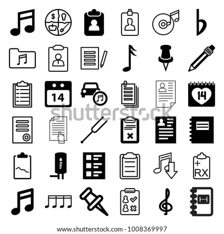 note icons set of 36 editable