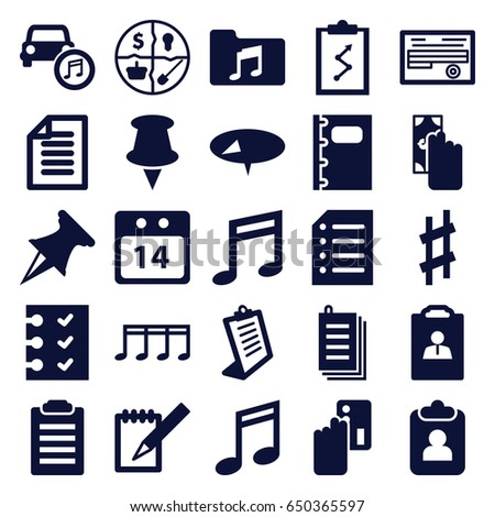 note icons set set of 25 note