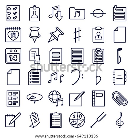 note icons set set of 36 note