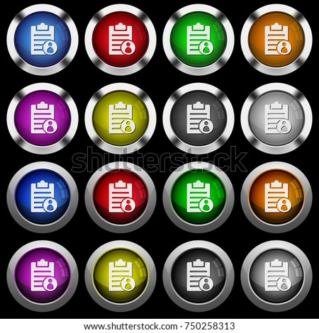 Note owner white icons in round glossy buttons with steel frames on black background. The buttons are in two different styles and eight colors. #750258313