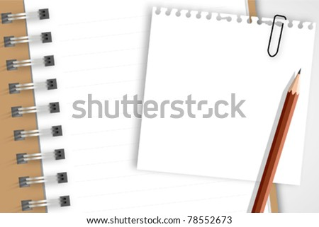 Note paper and pencil on notebook