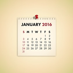 Note Paper Calendar Vector January 2016