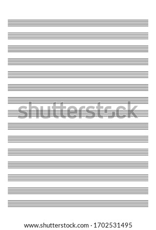 Note paper for musical notes isolated on a white background. Real size A4 format for print. Vertical music books. Five-line staff without key. Vector Illustration on isolated white background.
