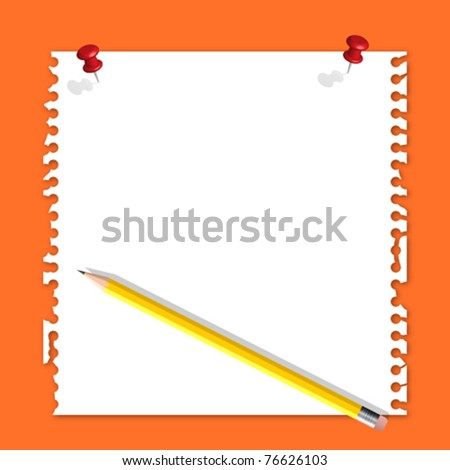 Note paper red pin and pencil on orange background