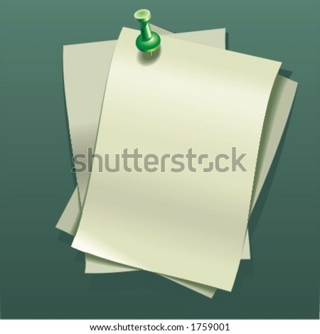 Note-paper sheets and pin