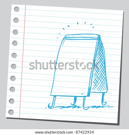 Note paper sketch of an empty advertising stand