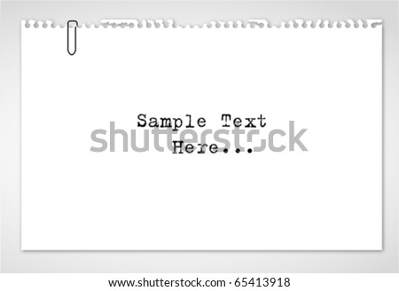 Note paper,sketch paper with paper clip on white isolated