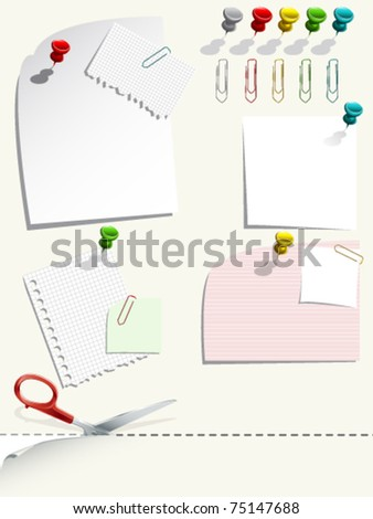 Note paper with push pins and clips