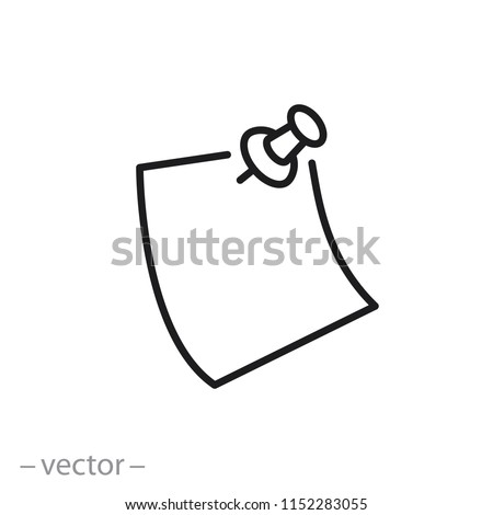 note paper with pushbutton icon, reminder sticker pinned linear sign isolated on white background - editable vector illustration eps10 Foto d'archivio ©