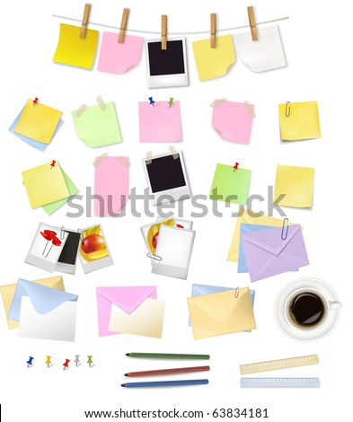 Note papers and office supplies. Vector.