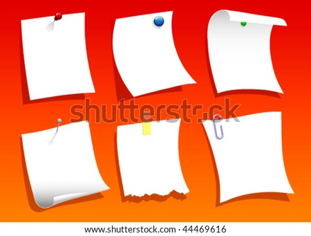 Note papers blank with text space Vector. Also available in raster.