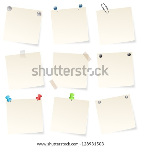 note papers on white background
