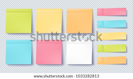 Note sticker set isolated on transparent background. Paper sticky tape with shadow. Vector office color note sticks for advertising design.
