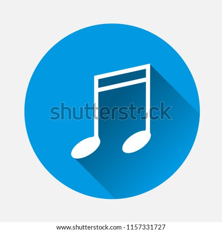 Note vector icon. Music icon symbol on blue background. Flat image note icon with long shadow. Layers grouped for easy editing illustration. For your design.