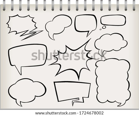Note with set of speech bubble illustration