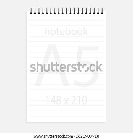 notebook a5 148x210. Realistic white blank notepad paper page template with lines. Mock up cover for business memo diary and empty sketchbook with spirals.