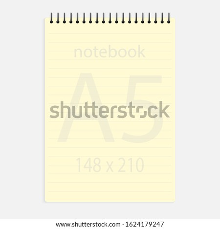notebook a5 148x210. Realistic yellow blank notepad paper page template with lines. Mock up cover for business memo diary and empty sketchbook with spirals.