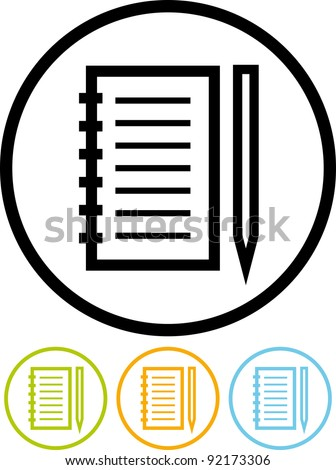 Notebook and pen - Vector icon isolated on white