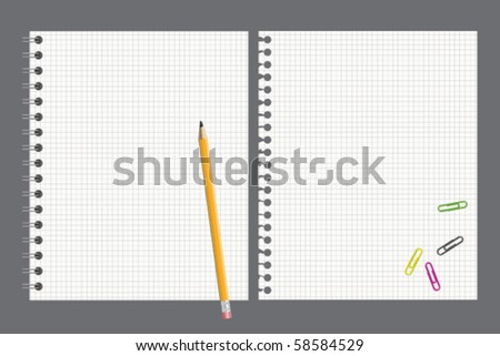 Notebook and pencil - stock vector