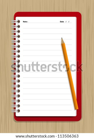 Notebook and Pencil Vector on wood background