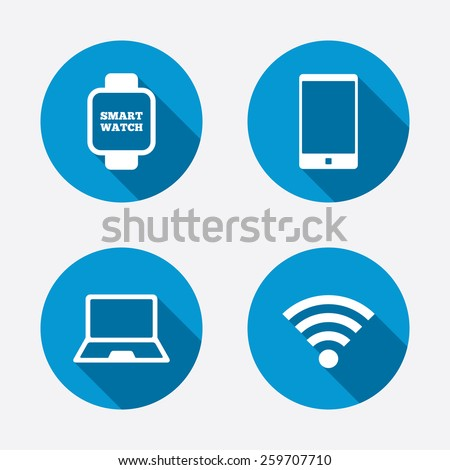 Notebook and smartphone icons. Smart watch symbol. Wireless Network symbol. Mobile devices. Circle concept web buttons. Vector